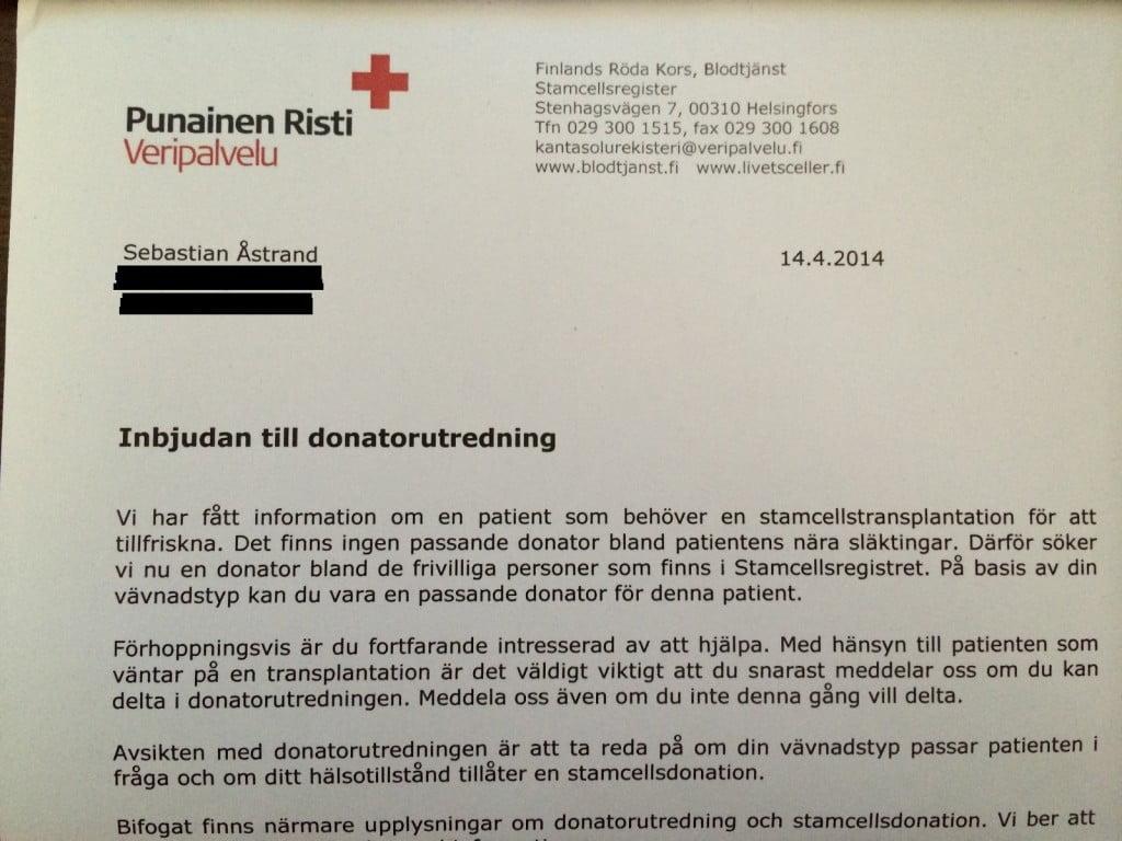 Kallelse för vidare donatorutredning av Röda Korset, för donerande av stamceller.