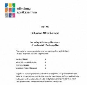CCI19032015 Skönt att ha ens språkkunskap i finska officiellt dokumenterad :) Trägen vinner!